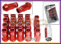 Work Racing Rs-r Extended Forged Aluminum Lock Lug Nuts 12x1.5 1.5 Red Open T