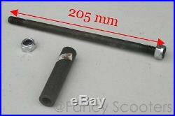 X-15, X-19 Pocket Bike Front Wheel Axle, Spacer with Lock Nuts M10 x 205
