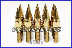 Z RACING 28mm Gold SPIKE LUG BOLTS 12X1.5MM MINI COOPER 02-06 Cone Seat