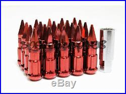 Z Racing Red Spike Lug Nuts 20 Pcs 12x1.25mm Steel Extended Tuner Key