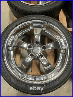Zenetti Five chrome wheels rims 18 Inch staggered W Locking Nuts GM BMW Chevy